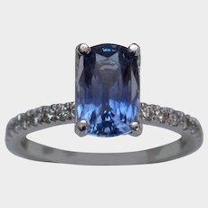 Feminine 2.61ct GIA Unheated Sapphire & Diamond Ring
