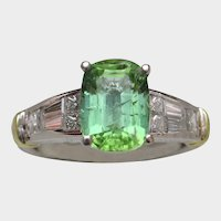 NEON Bluish-Green Copper-Bearing Tourmaline & Diamond Ring