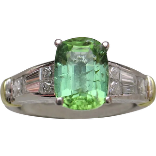 NEON Bluish-Green Copper-Bearing Tourmaline & Diamond Ring
