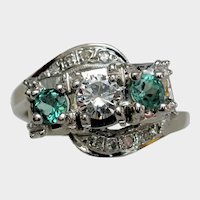 Classic Vintage Three Stone Emerald & Diamond Ring