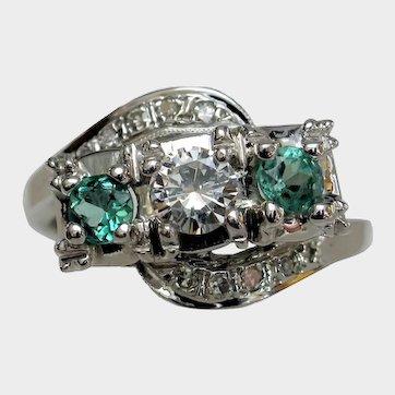 Classic Vintage Three Stone Emerald & Diamond Ring
