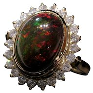 Grand 18kt Fire Opal Cabochon & Diamond Cocktail Ring