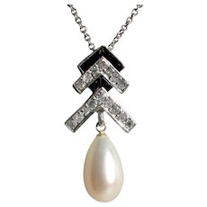 CLEARANCE: Bottom Prices NOW! Demure Art Deco Platinum, Cultured Pearl, Onyx Diamond Pendant