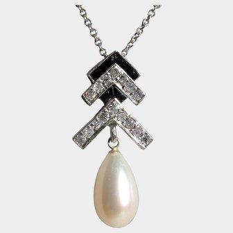 CLEARANCE: Bottom Prices NOW! Demure Art Deco Platinum, Cultured Pearl, Onyx Diamond Pendant