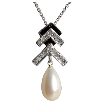 Demure Art Deco Platinum, Cultured Pearl, Onyx Diamond Pendant