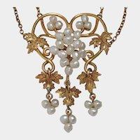 14k Art Nouveau Baroque Seed Pearl Grape Vine Necklace