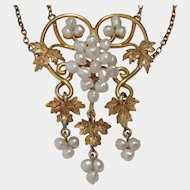 14k Art Nouveau Baroque Seed Pearl Grape Vine Necklace. FREE shipping in Canada and USA