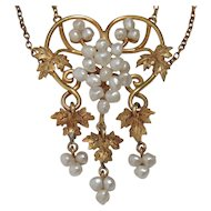 MAKE an OFFER on this  14k Art Nouveau Baroque Seed Pearl Grape Vine Necklace
