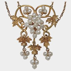 14k Art Nouveau Baroque Seed Pearl Grape Vine Necklace