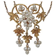 CHRISTMAS CLEARANCE: Save 55%! 14k Art Nouveau Baroque Seed Pearl Grape Vine Necklace. FREE shipping in Canada and USA