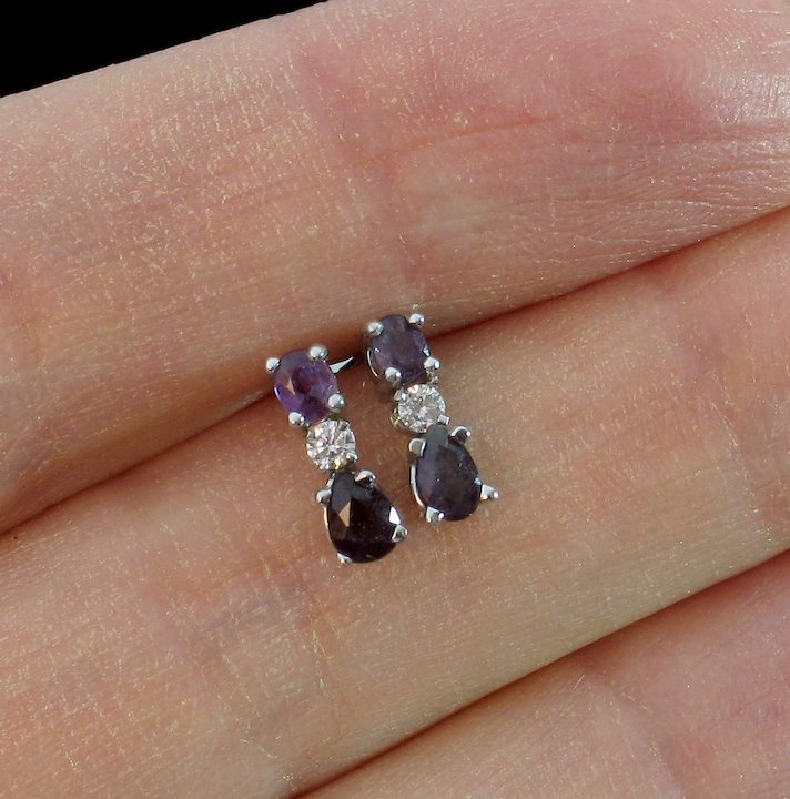 white mm lab x stud earrings princess ct cut natural ea gold alexandrite