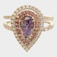Breathtaking Natural ALEXANDRITE & Pink Diamond Engagement Ring