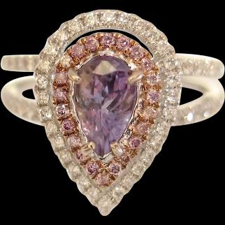 Breathtaking Natural ALEXANDRITE & Pink Diamond Engagement Ring