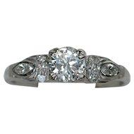 MEMORIAL DAY SALE - SAVE $400! Darling Art Deco 10% Iridium Platinum Diamond Engagement Ring
