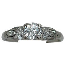 Darling Art Deco 10% Iridium Platinum Diamond Engagement Ring