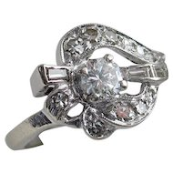 Sensational Art Deco 14kt Gold Diamond Ring