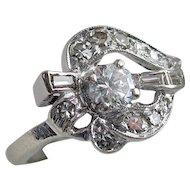 Sensational Art Deco 14kt Gold Diamond Ring