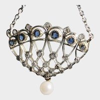 18k White Gold Diamond & Sapphire Art Deco Pendant with chain