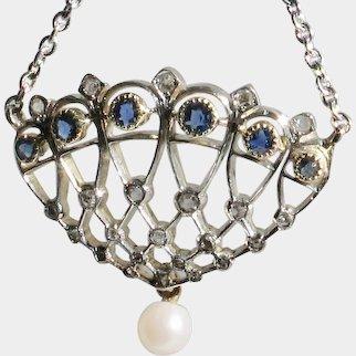 18k White Gold Diamond & Sapphire Art Deco Pendant with chain