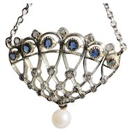 MAKE an OFFER on  this 18ct white gold Diamond & Sapphire Art Deco Pendant with chain