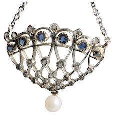 18ct white gold Diamond & Sapphire Art Deco Pendant with chain-FREE Shipping in Canada and USA