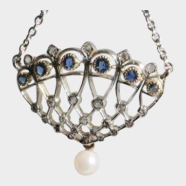 VALENTINE SALE! 50% Off! 18k White Gold Diamond & Sapphire Art Deco Pendant with chain