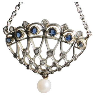 MAKE an OFFER &  get FREE SHIPPING  on  this 18ct white gold Diamond & Sapphire Art Deco Pendant with chain