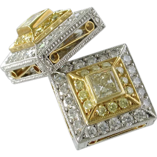 Immaculate MICHAEL BEAUDRY Yellow & White Diamond Earrings