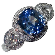 Breathtaking NO HEAT Natural Blue Sapphire & Diamond Ring