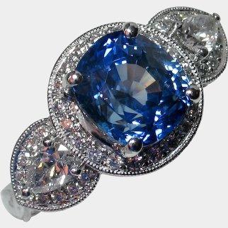 Breathtaking NO HEAT Natural Blue Sapphire & Diamond Ring