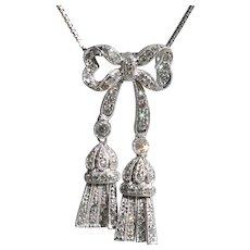 Gorgeous Vintage 18k Diamond Bow Tassel Pendant