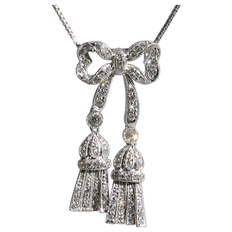 Gorgeous Vintage 18k Diamond Bow Tassel Pendant