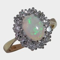 Darling Vintage BIRMINGHAM 1968 Opal & Diamond Ring