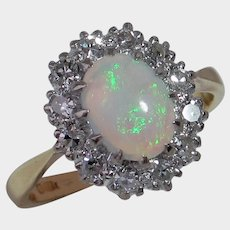 Darling Vintage BIRMINGHAM 1968 Opal & Diamond Ring