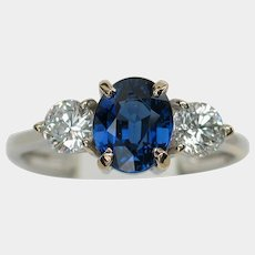 Brilliant NO HEAT 'Cornflower Blue' Sapphire Diamond Ring