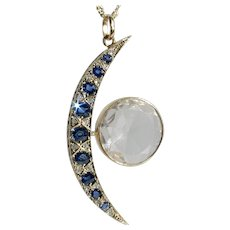 Glorious Victorian Crescent Moon & Sun Sapphire Diamond Pendant
