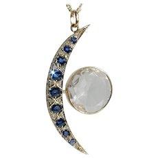 Glorious Victorian Crescent Moon & Sun Sapphire Diamond Pendant