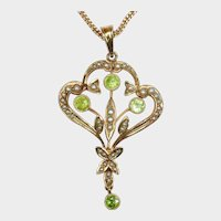 CYBER WEK SALE! 50% Off! Antique Seed Pearl, Peridot and 14K Gold Pendant (chain not included in sale price)