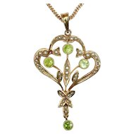 MAKE an OFFER on this Antique Seed Pearl, Peridot and 14K Gold Pendant on unique chain
