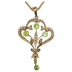 CHRISTMAS CLEARANCE! Save 50%. Antique Seed Pearl, Peridot and 14K Gold Pendant (chain not included in sale price. FREE Shipping in Canada & USA