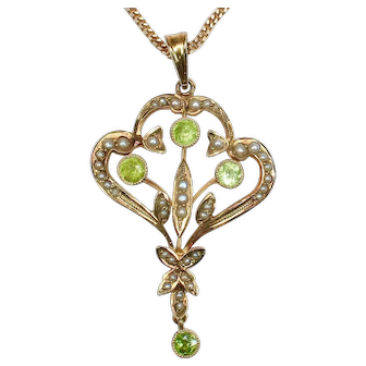 Antique Seed Pearl, Peridot and 14K Gold Pendant on unique chain