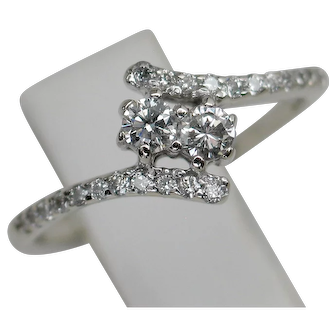 Dainty 14kt Bypass Double Diamond Ring