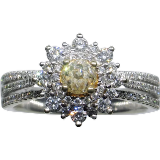 "Fascinating ""Crown of Light"" Fancy Yellow Diamond Ring"