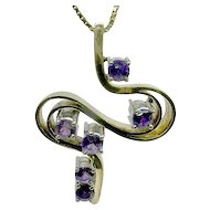 Outstanding 14k Amethyst Swirl Pendant with 14k Box Chain