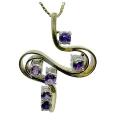Outstanding 14k Amethyst Swirl Pendant- FREE SHIPPING in CANADA and USA