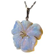 Crystal Opal and 14K Gold Flower Pendant on 14k chain