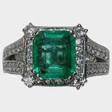 Vibrant Green Natural Emerald & Diamond Ring