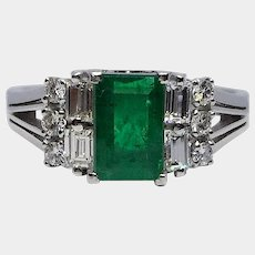 BLACK FRIDAY: PT 900 Platinum Emerald & Diamond Vintage Evening Ring