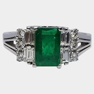 PT 900 Platinum Emerald & Diamond Vintage Evening Ring