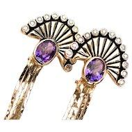 """Erte """"LA MER"""" Amethyst diamond 14k Dangling Earrings"""
